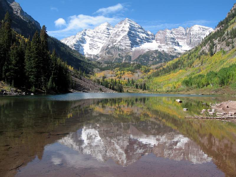 Maroon Bells Near Aspen Colorado From The Ultimate Taxi