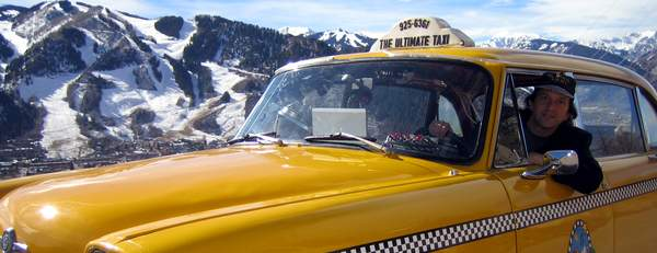 Aspen Mountain in the background. Jon Barnes In The Ultimate Taxi November 2005
