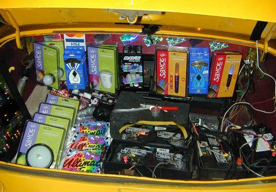 the toystore, Located conviently in the trunk of The Ultimate Taxi